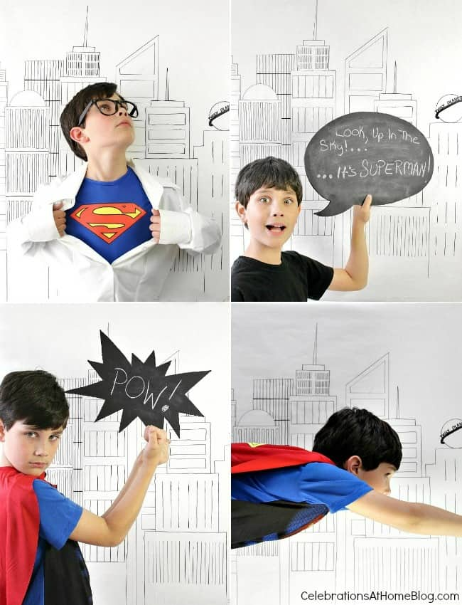5 simple ideas for a fun Superman party; diy photo booth