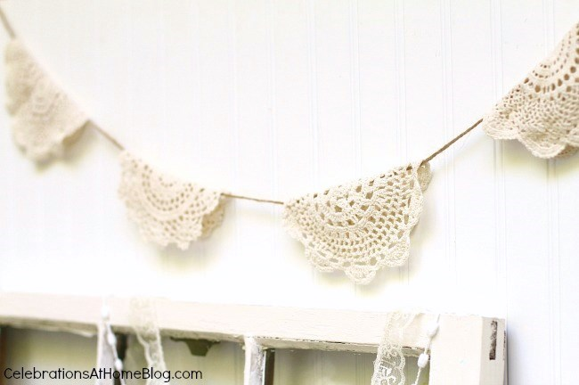 ... Vintage Style Bridal Shower Doily Bunting ...