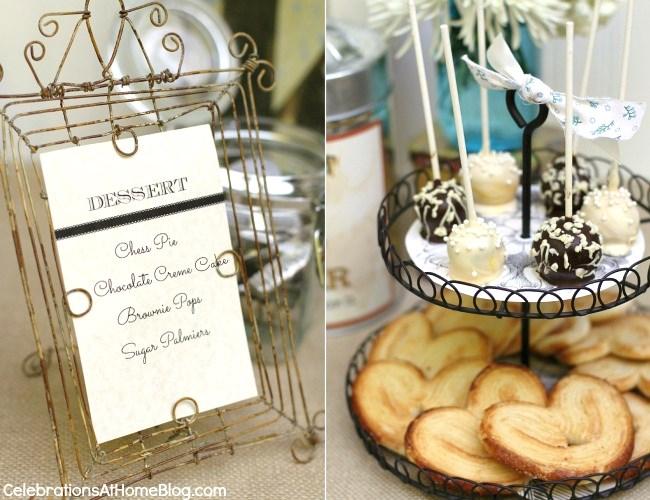 vintage style bridal shower dessert table
