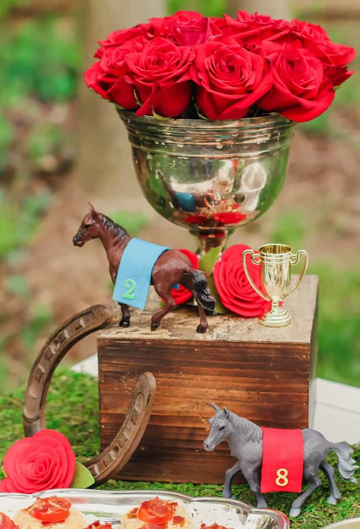 tips for best Kentucky derby party, red roses in silver urn