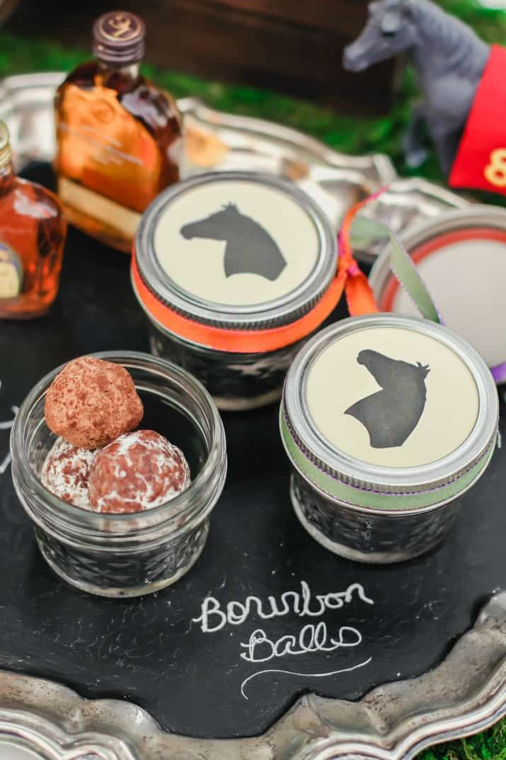 Bourbon balls party favors in jars