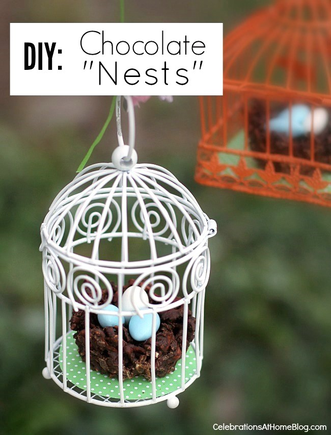 make your own chocolate nest treats for Spring parties and entertaining