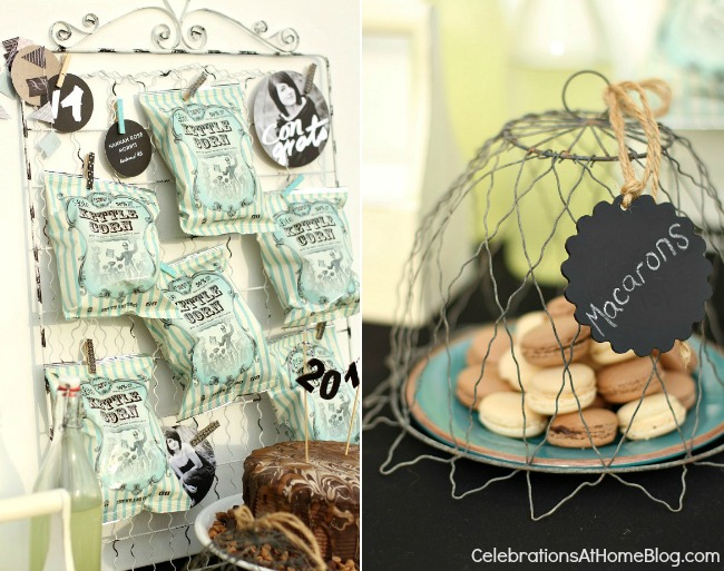 graduation-party-details-popcorn-bags-macarons #graduation