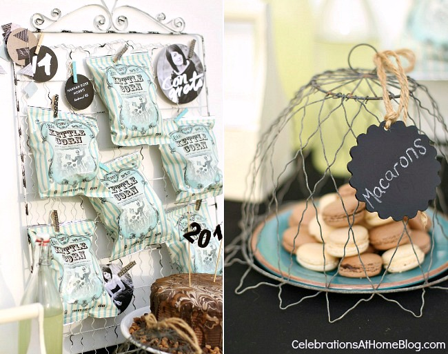 mini retro-style popcorn bags are displayed on a vintage gate, and macarons sit under a wire cloche