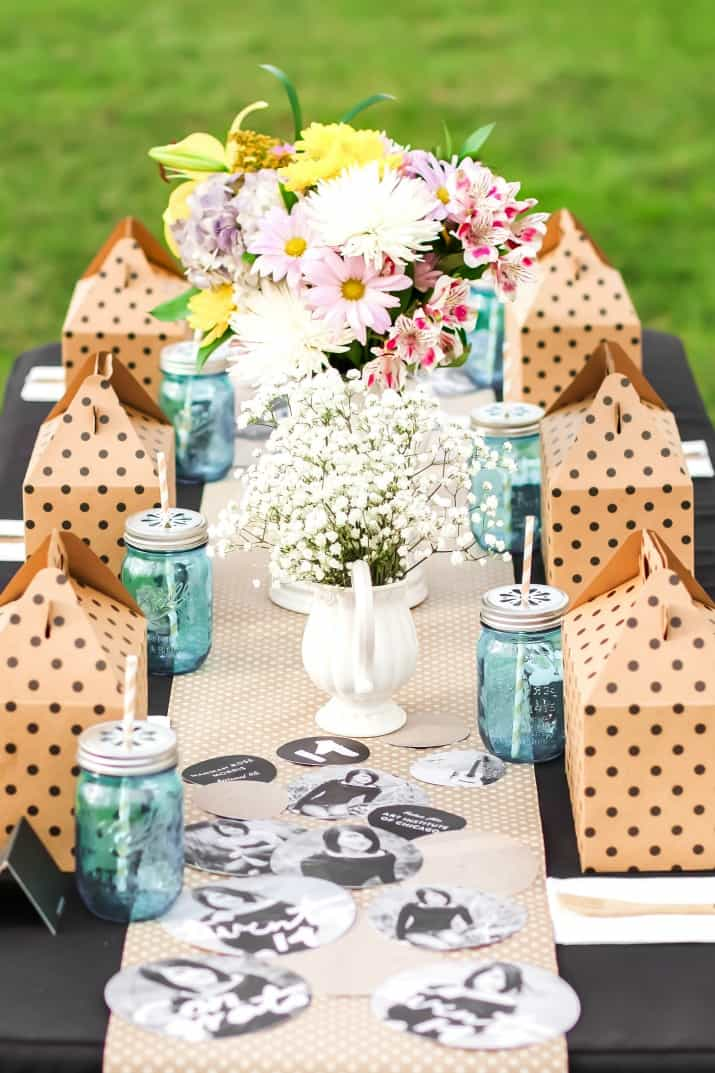 shabby chic graduation party with boxed lunches