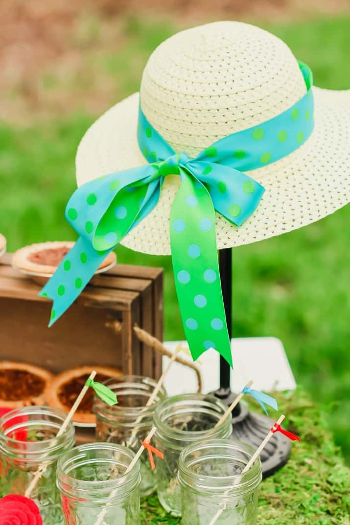 Kentucky Derby party decor, hat on a stand