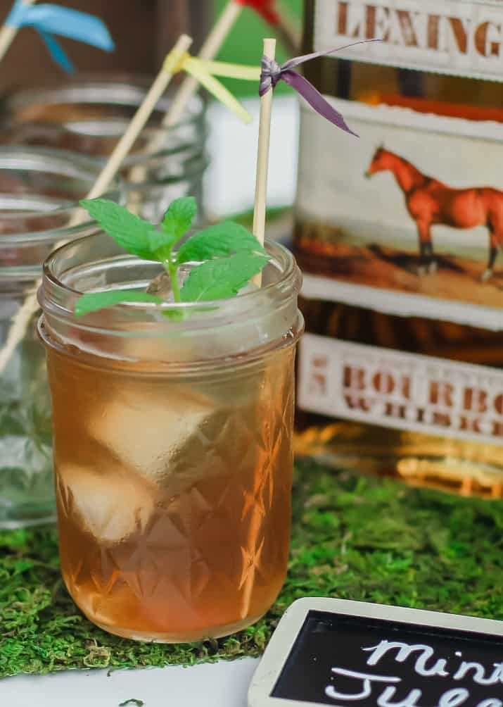 derby party mint julep in glass jar