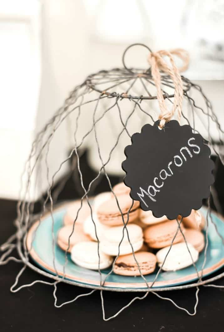 macarons under wire cloche