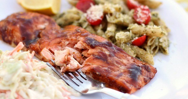 BBQ-Brushed Plank-Grilled Salmon