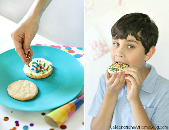 confetti themed birthday party_confetti cookies