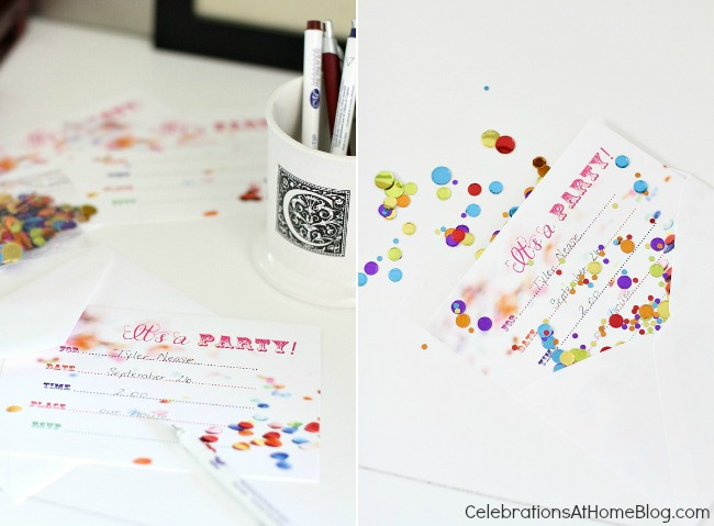confetti themed birthday party_invitations