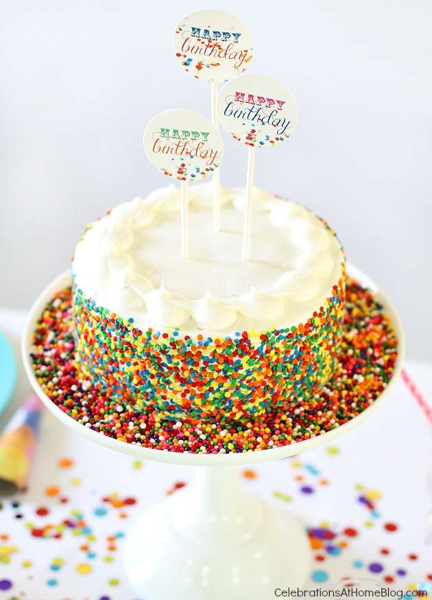confetti themed birthday party_confetti cake