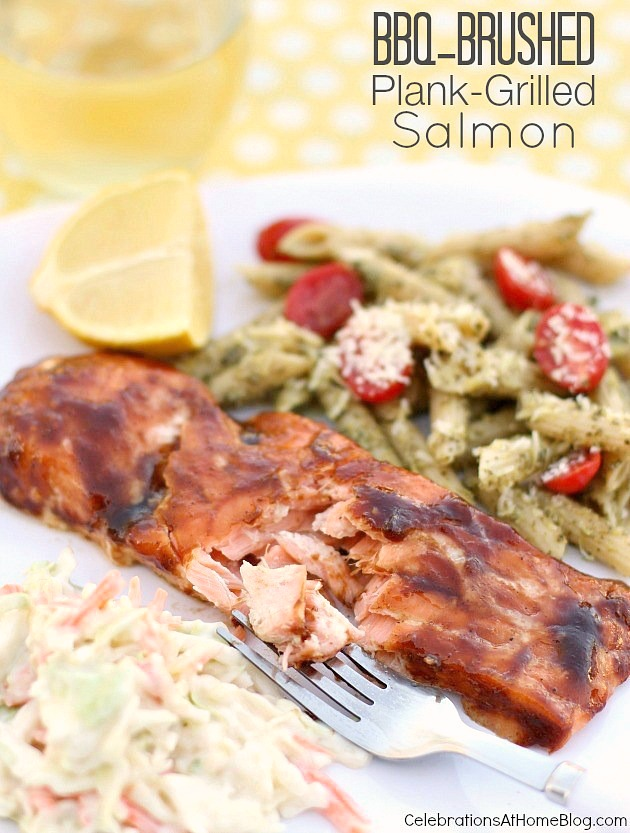 This Plank Grilled Salmon is moist and delicious and perfect for summer entertaining. Host an outdoor dinner party and serve this to your guests