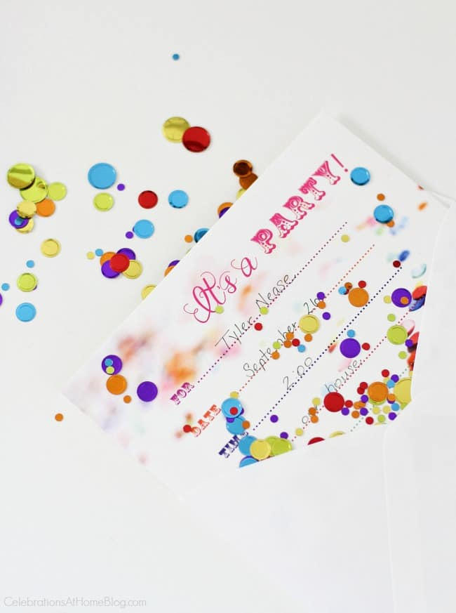 A confetti themed birthday party is perfect for celebrating boys, girls, or 1st year birthdays. Confetti party invitations.