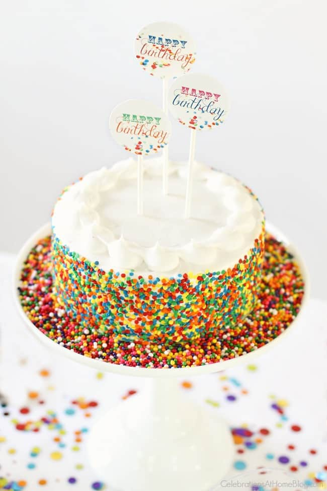 A confetti themed birthday party is perfect for celebrating boys, girls, or 1st year birthdays. Confetti themed cake; sprinkle cake.