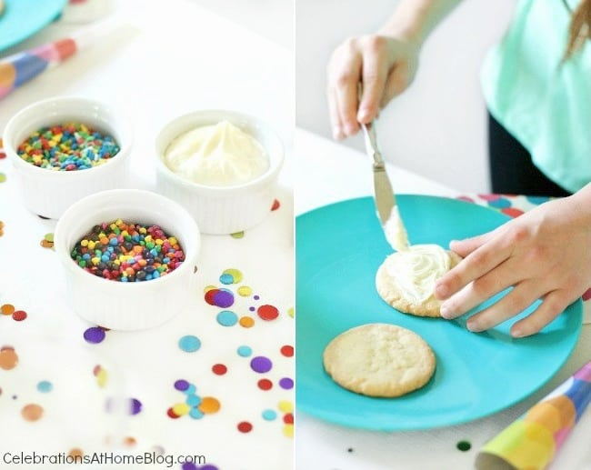 A confetti themed birthday party is perfect for celebrating boys, girls, or 1st year birthdays. Cookie decorating activity.