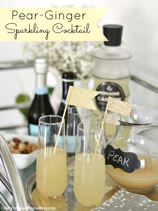 Make this pear ginger sparkling cocktail for entertaining at home. Serve it at parties, for brunch, or happy hour. Get the recipe here.