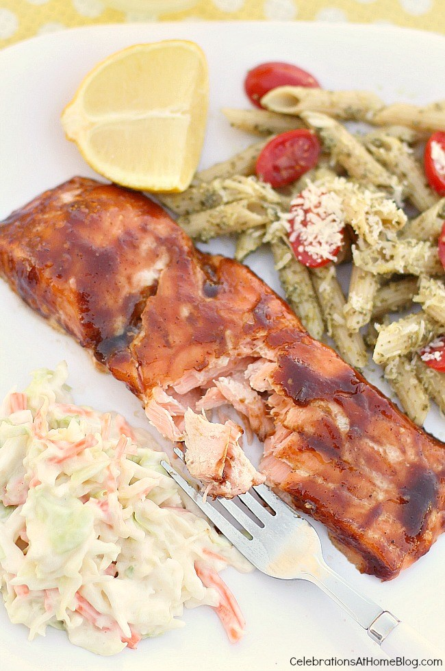 This plank grilled salmon has a great tasting bbq sauce brushed on and comes out so tender and moist.