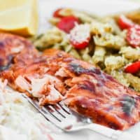 BBQ-Brushed Plank Grilled Salmon