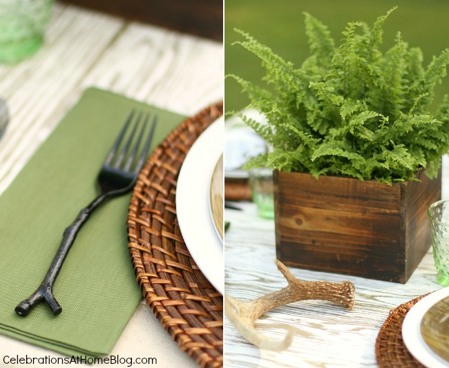 Set up this nature inspired tabletop for the man in your life; Father's day or birthday celebration.