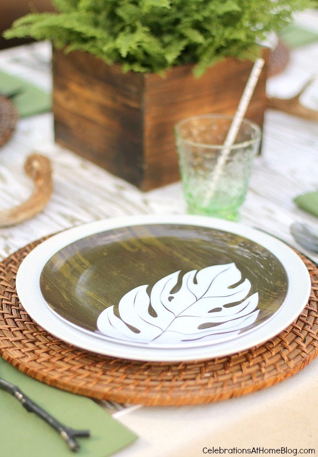 This nature inspired tabletop is the perfect setting for a father's day celebration.