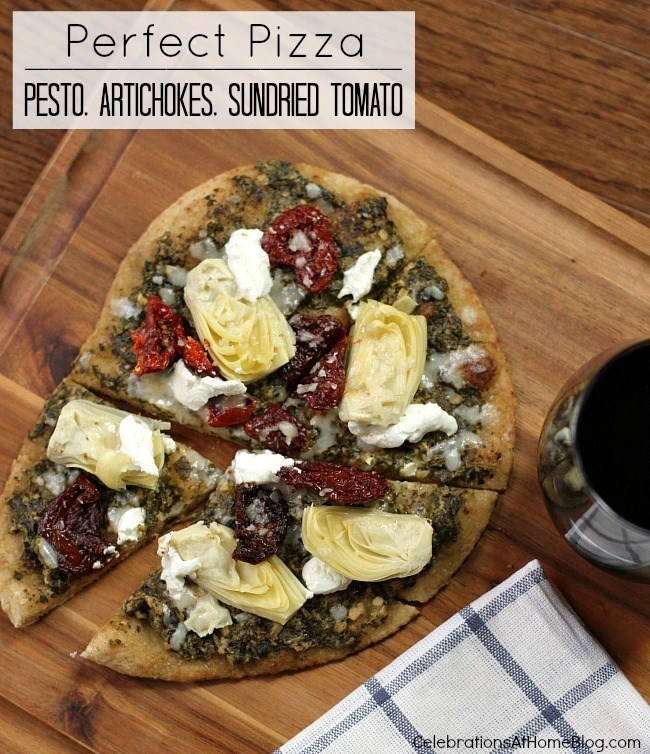 artichoke, pesto, sundried tomato pizza-1