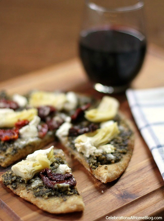 artichoke-pesto-sundried tomato-pizza