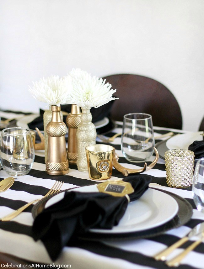 black and white and gold table top ... & Entertaining : Styling a Bookcase for Entertaining - Celebrations at ...
