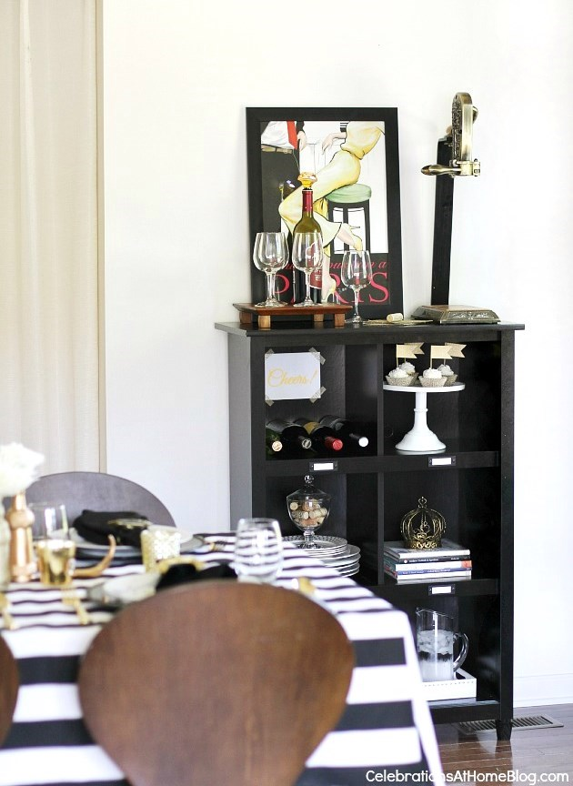styling a bookcase for entertaining