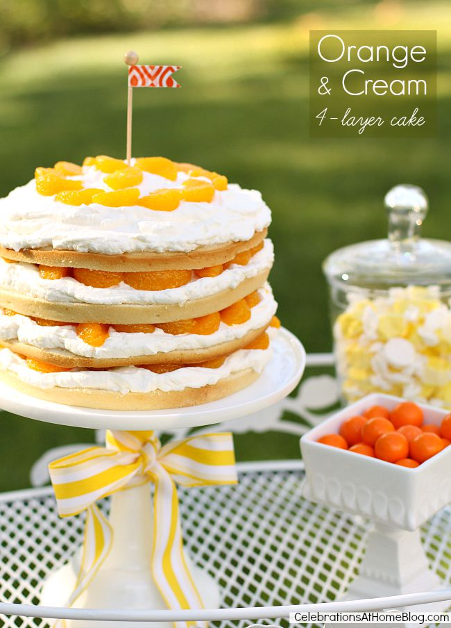 This orange and cream 4-layer cake is terrific for summer entertaining.