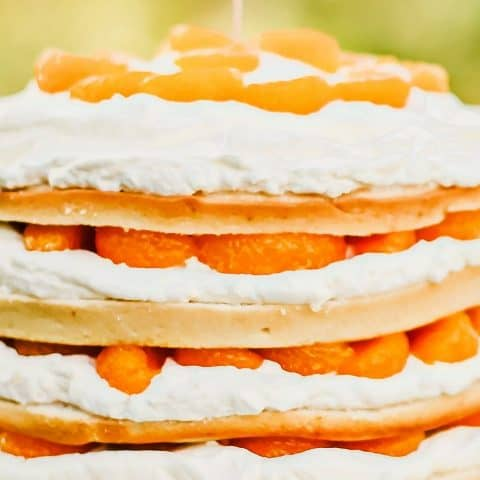 orange layer cake recipe card