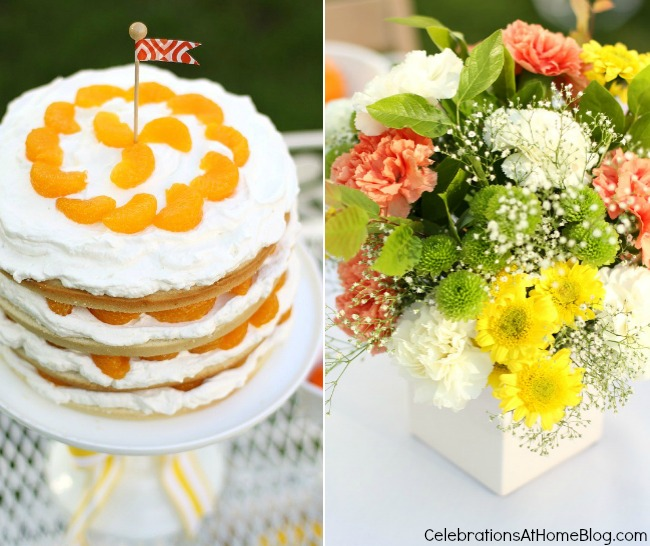 orange tower cake and flowers