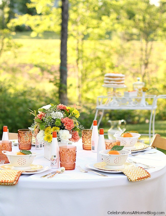 Summer entertaining tablescape, orange and white