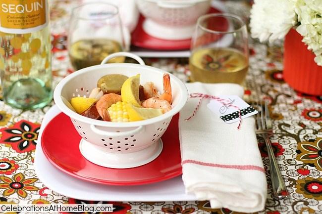 shrimp boil place setting