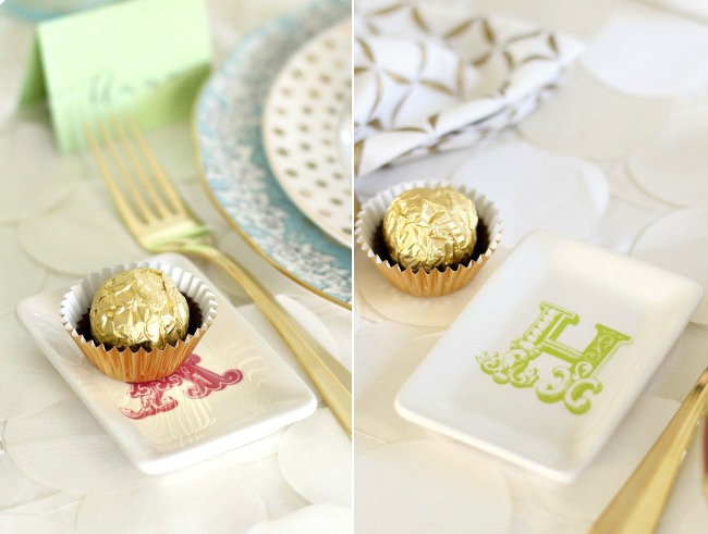 You'll get inspired by this beautiful bridesmaid luncheon with menu & recipes in a modern-meets-vintage style. Would be beautiful for any ladies luncheon or tea party! - mini monogram dish with chocolate