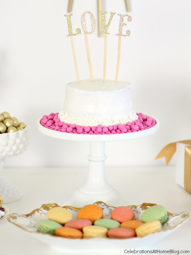 You'll get inspired by this beautiful bridesmaid luncheon with menu & recipes in a modern-meets-vintage style. Would be beautiful for any ladies luncheon or tea party! - cake and 'love' topper