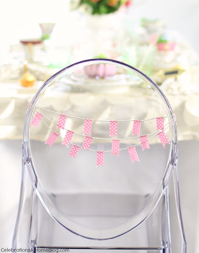 You'll get inspired by this beautiful bridesmaid luncheon with menu & recipes in a modern-meets-vintage style. Would be beautiful for any ladies luncheon or tea party! chair mini bunting