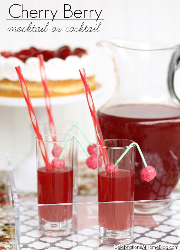 cherry cocktail recipe in a pitcher