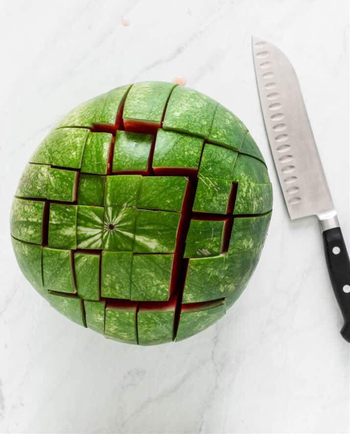 small watermelon with crisscross cuts