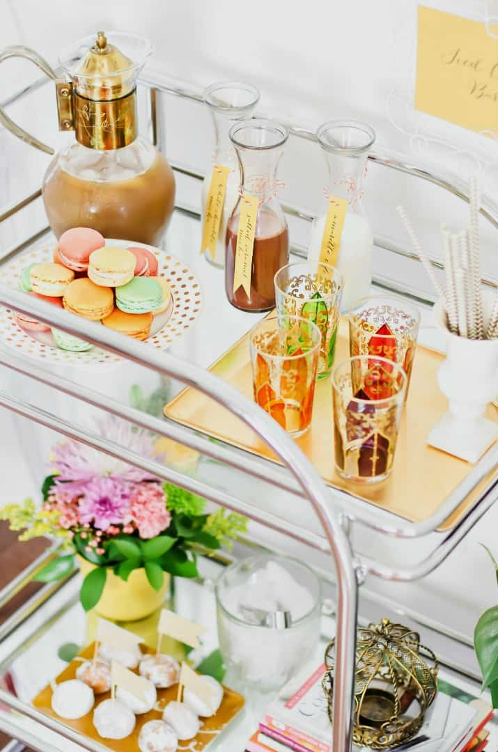 how to set up an iced coffee bar cart for entertaining
