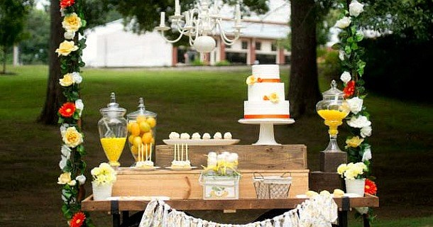 rustic yellow dessert table