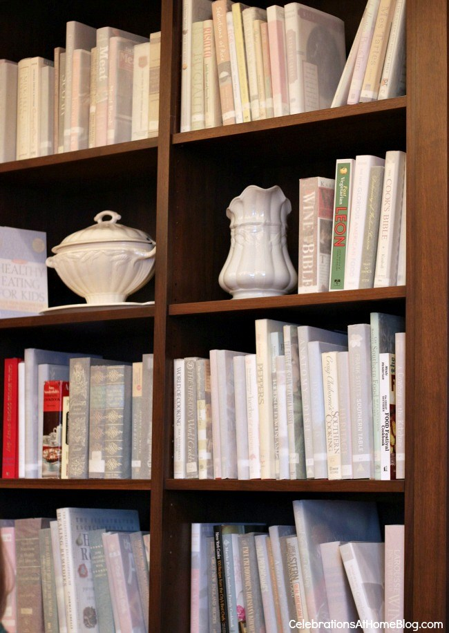 books wrapped in white vellum