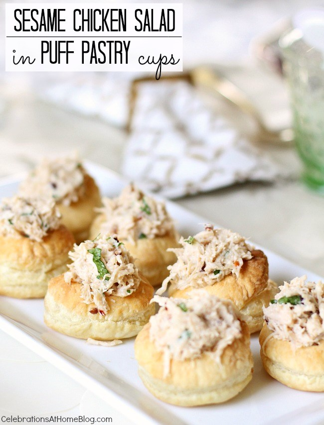 Sesame Chicken Salad in Puff Pastry Cups