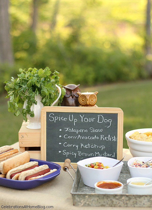 For a casual cookout set up a hot dog bar with toppings.