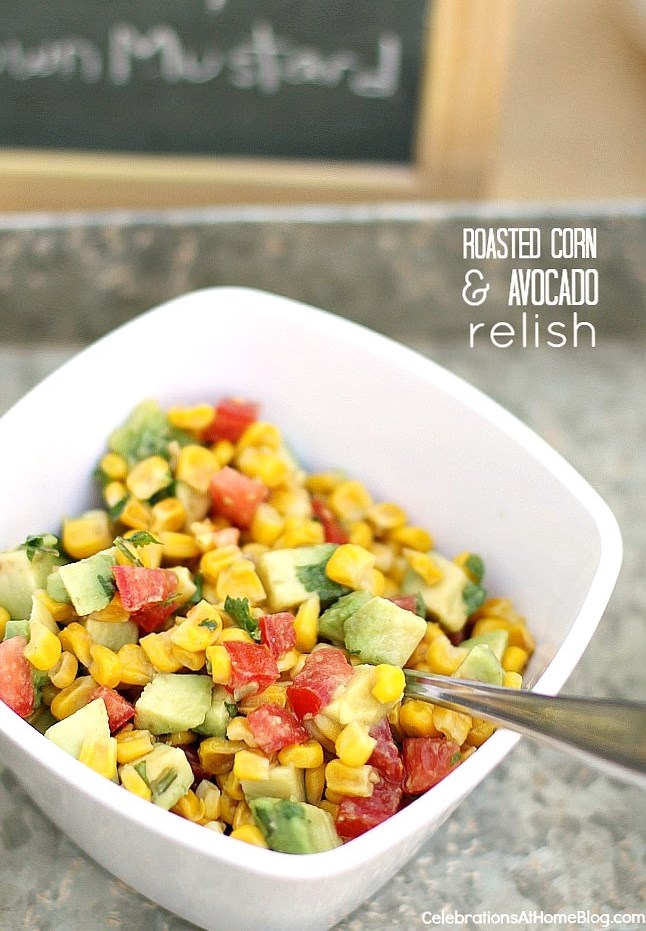 Make this roasted corn and avocado relish and serve on hot dogs or scoop with chips.