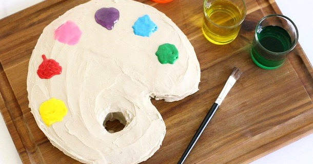 make a paint palette cake