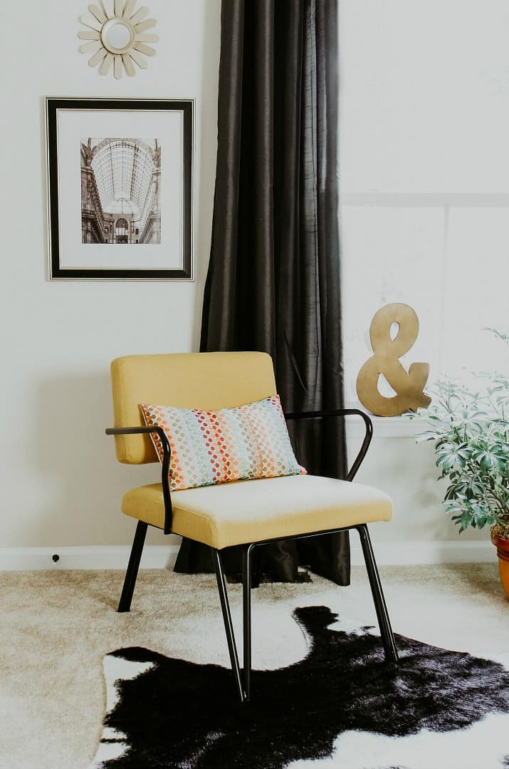 mid century modern yellow chair