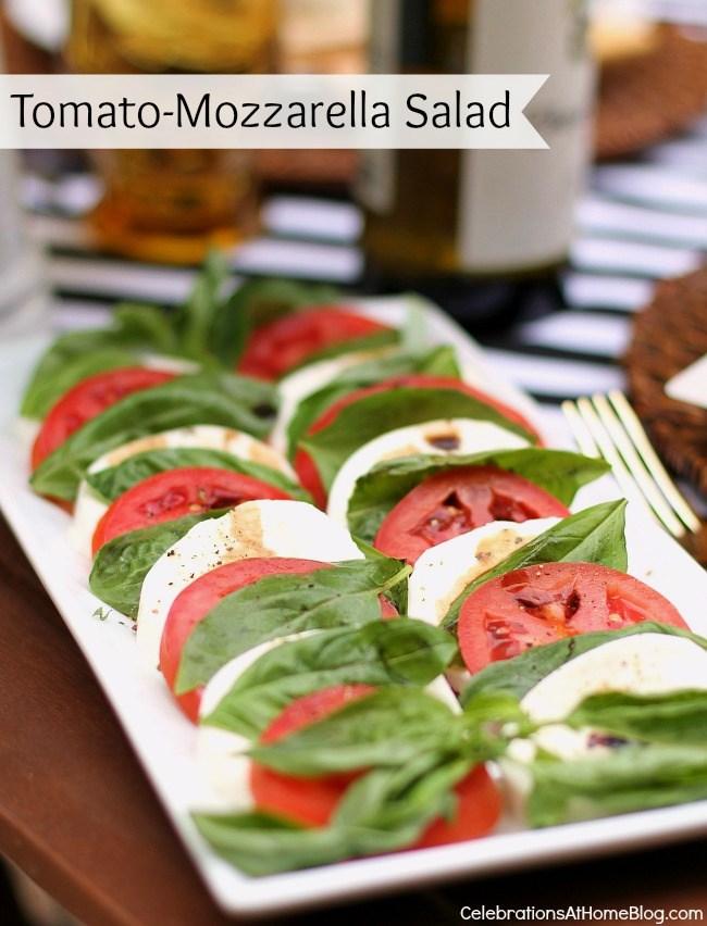 Al Fresco Dinner Party Menu with Recipes; tomato-mozzarella salad