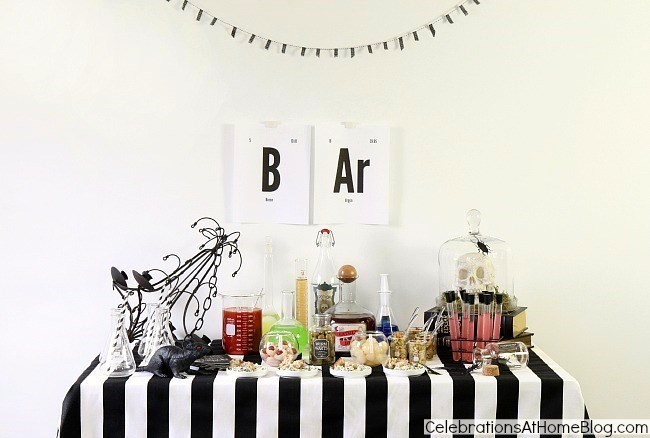 Halloween bar science lab theme. Halloween party buffet table. Halloween party ideas.