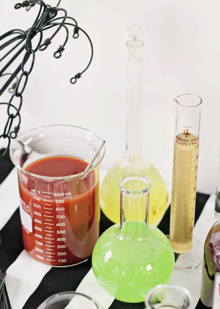Halloween bar mixers in beakers
